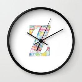 Letter Z - Watercolor Monogram - Colorful Lettering - Watercolor Letter Print - Watercolor Initial Wall Clock