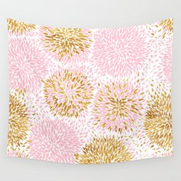 Abstract flowers pink and gold Wall Tapestry