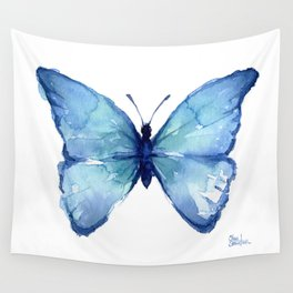 Blue Butterfly Watercolor Wall Tapestry