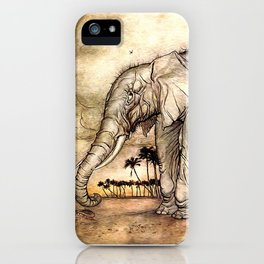 An Elephant and A Lion - Vintage Artwork iPhone Case