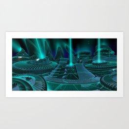 Elavaris City Concept - Power Central Complex Art Print