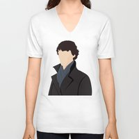 sherlock V-neck T-shirts featuring Sherlock by Jessica Slater Design & Illustration