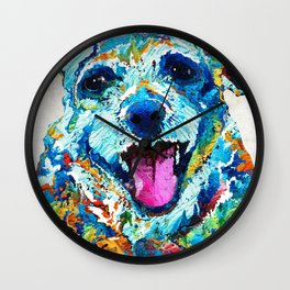 Colorful Dog Art - Smile - By Sharon Cummings Wall Clock
