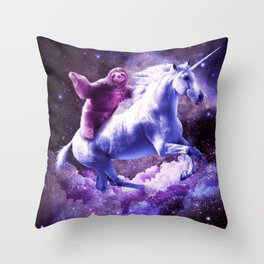 Space Sloth Riding On Unicorn Throw Pillow