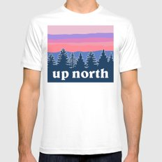 up north, pink hues MEDIUM Mens Fitted Tee White