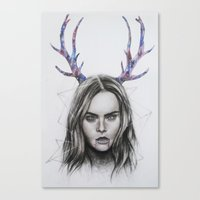 cara delevingne Canvas Prints featuring Cara Delevingne  by Pritish Bali