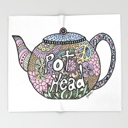 Tea Pot Head Throw Blanket