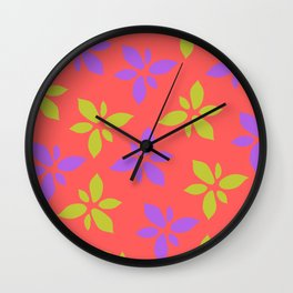 Illustration of flowers(red background) Wall Clock