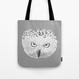 Snowy Owl Grey Tote Bag