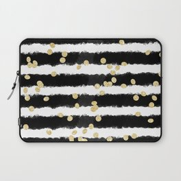Modern black watercolor stripes chic gold confetti Laptop Sleeve