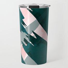 Artsy Modern Emerald Green Pink Brushstrokes Pattern Travel Mug