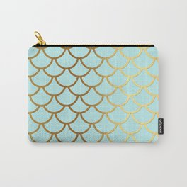 Aqua Teal And Gold Foil MermaidScales - Mermaid Scales Carry-All Pouch