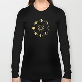 Gold Moon Phases Sun Stars Night Sky Navy Blue Long Sleeve T-shirt