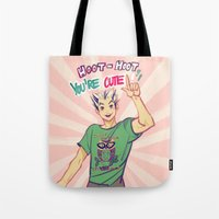 viria Tote Bags featuring Hoot hoot you're cute! by viria