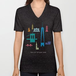 New York Skyline One WTC Poster Black Unisex V-Neck