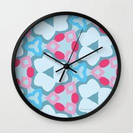Flower-Kaleidoscope Blue Wall Clock