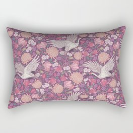 Cranes with chrysanthemums and pink magnolia on purple background Rectangular Pillow