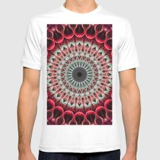 Mandala in red and light green tones Mens Fitted Tee MEDIUM White