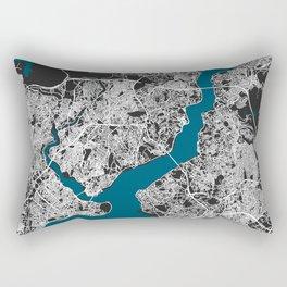 Istanbul city map black colour Rectangular Pillow