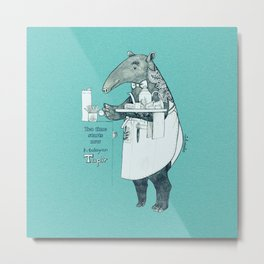 Tea time starts now - Malayan Tapir - Bule Metal Print