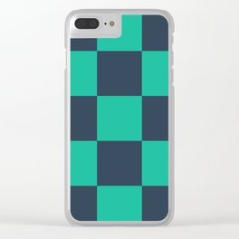 green plaid Clear iPhone Case