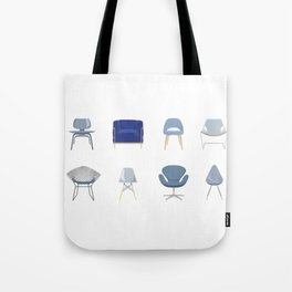 Set of Blue Midcentury Chairs Tote Bag