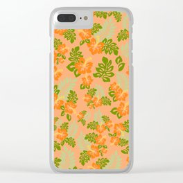 Hawaiian Pattern - Orange Clear iPhone Case