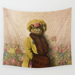 Lady Vanderkat with Roses Wall Tapestry