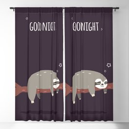 Sloth card - good night Blackout Curtain
