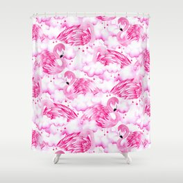 Dreamy Pink Flamingos in Watercolour Shower Curtain