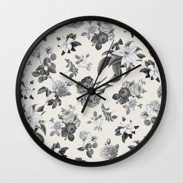 Vintage flowers on cream blackground Wall Clock