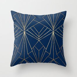 Navy & Gold Art Deco - Large Scale Throw Pillow