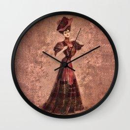 Woman in red Edwardian Era in Fashion Wall Clock