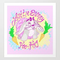 foo fighters Art Prints featuring Little Bunny Foo-Foo by Lauren Campbell Creations