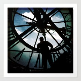 Time with man in silhouette Art Print