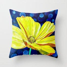 Cosmos Flower | Watercolor Art Throw Pillow
