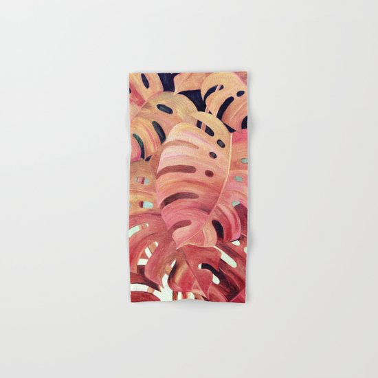 Monstera Love in Magenta and Coral - oil painting Hand & Bath Towel