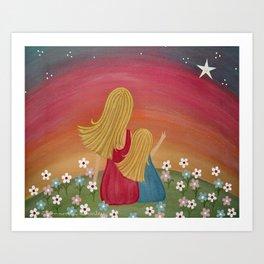 Wishing Star - Mother & Daughter Kids Art Art Print