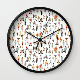 colorful set of people illustration - children drawing, kids pattern  sketch design Wall Clock
