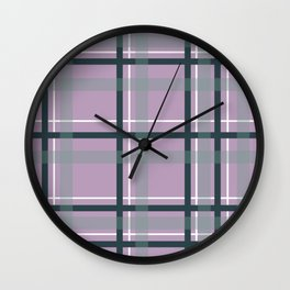 Plaid in Lavender and Sage Wall Clock