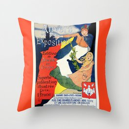 Antwerp art expo 1895 Throw Pillow