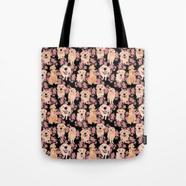 Golden Retrievers and flowers on Black Tote Bag