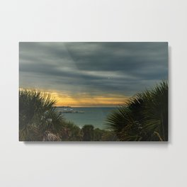 Cloudy Rainy Sunset De Soto Beach Coastal Landscape Photo Metal Print