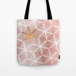 Elegant Geometric Gold Snowflakes Holiday Pattern Tote Bag