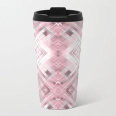 White pink geometric pattern . Metal Travel Mug