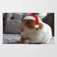 hamster Area & Throw Rugs featuring Christmas Hamster by VHS Photography