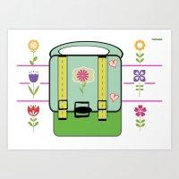 backpack Art Prints featuring Backpack - Flower Power by Drape Studio