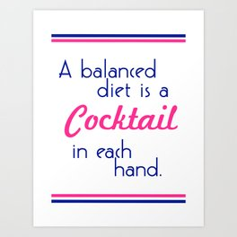 Cocktail in Each Hand - Navy and Pink Art Print