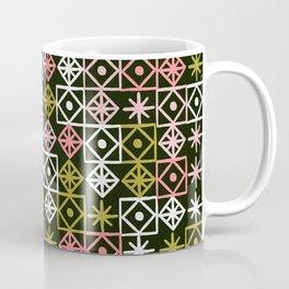 Geometric Lace – Pink on Sage Coffee Mug