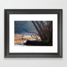 Fall misty stream Framed Art Print